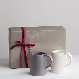 Goody Bag - [3, co] water wave mug gift box set (2 pieces) - white + gray