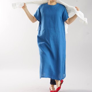 wafu   linen dress / loose fitting / oversized / long length / blue / a41-61