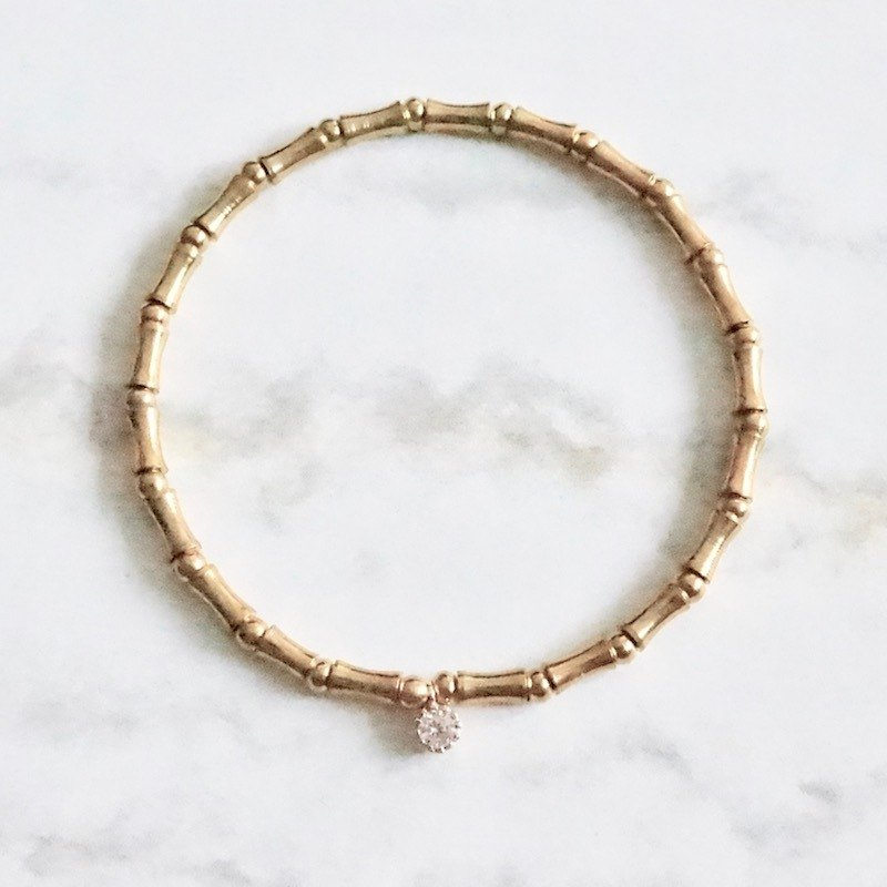 ITS-B906 [brass, shiny summer] brass small diamond pendant elastic bracelet.