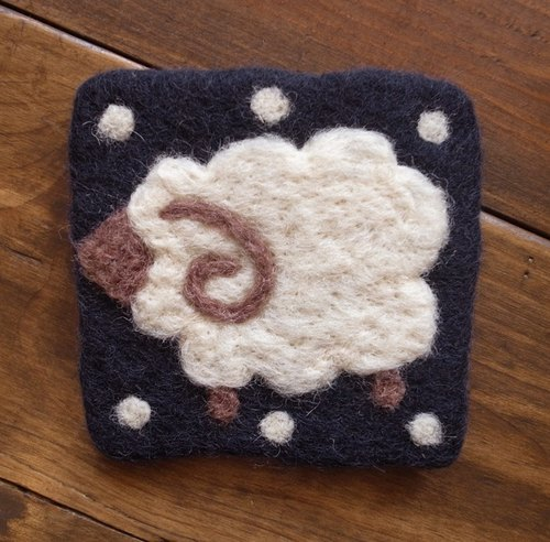 【Grooving the beats】Cup coasters, Felt coasters(Animal_Sheep_Blue)
