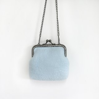 Blue wool felt gold bag / coin purse