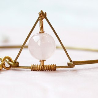 Myth*New*Triangle rose quartz bracelet brass Young