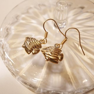 Gold earrings mini tropical fish