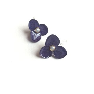 Three-dimensional dried flowers :: Ziyang flower earrings ear clip