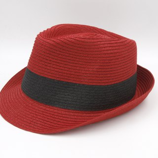 [Paper cloth home] two-color gentleman hat (red) paper weave