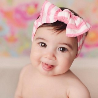 Baby Bling striped large bow wide hair pink peach
