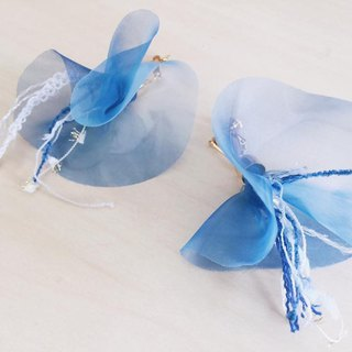 Transparent blue petal earrings