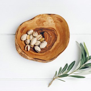 British Naturally Med boutique kitchen olive wood bark small disc / shallow dish / shallow bowl
