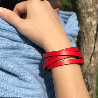 Rouge Red Double Tour Leather Bracelet