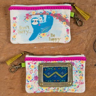 Pom-pom piping canvas ticket purse-Sloth Be Happy ∣ CPRS139