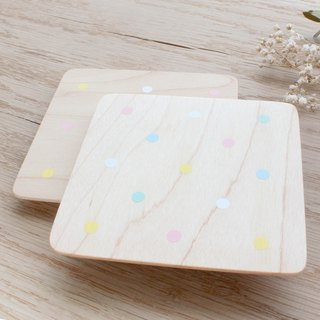 Colorful Marshmallow Dotted Coaster Two into Hand Brush Color Taiwan Limited Handmade Christmas Exchange Gift