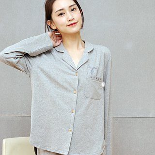 Hedgehog embroidery cardigan shirt organic cotton home service (twist dark gray)