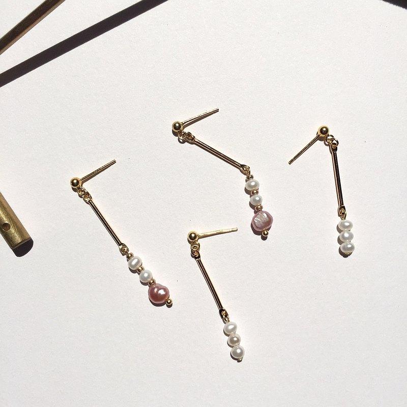 14K包金 氣質天然淡水粉色珍珠耳環 耳夾 夾式耳環