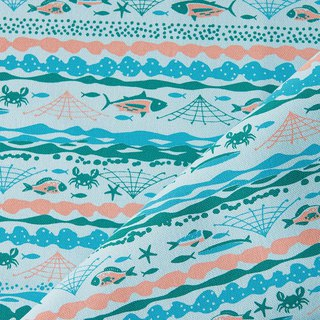 Hand-Printed Cotton Canvas - 250g/y / Fish / Water Blue