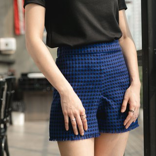 Boucle tweet shorts - cobalt color