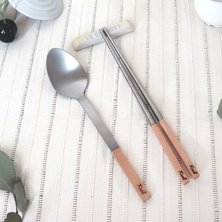 [KROLL] pure titanium household utensils group (chopsticks + spoon) Maple