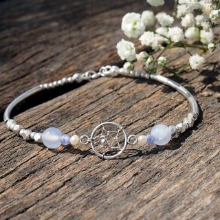 Chasing Dreams | Dreamcatcher Blue Agate Danquan Stone Pearl Sterling Silver Bracelet