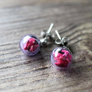Purple glass ball earrings 316 medical needle 【Well-being】