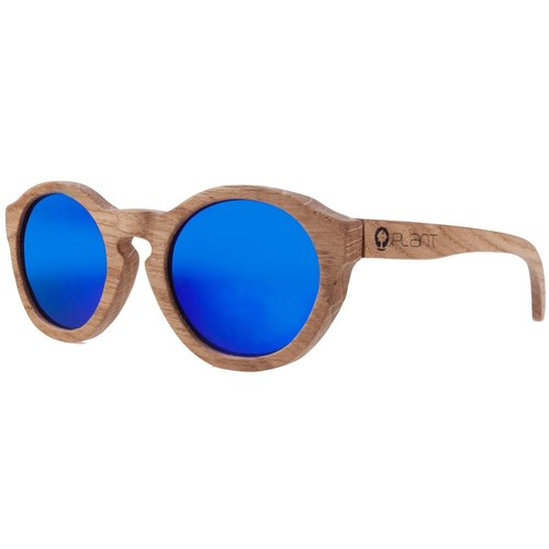 Plantwear European Handmade Solid Wood Sunglasses - Vintage Collection - Oak Solid Wood Frame + Camouflage Blue Lens