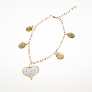 """Heart dream brand"" dream heart handmade crystal jewelry metal UV Series - White Smile Love Bracelet"