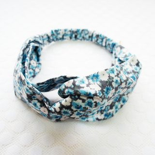 Lovely [Japanese double yarn] blue small floral butterfly elastic hair band, hair ring