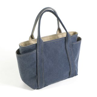 Washed canvas universal handbag - gray blue (small)