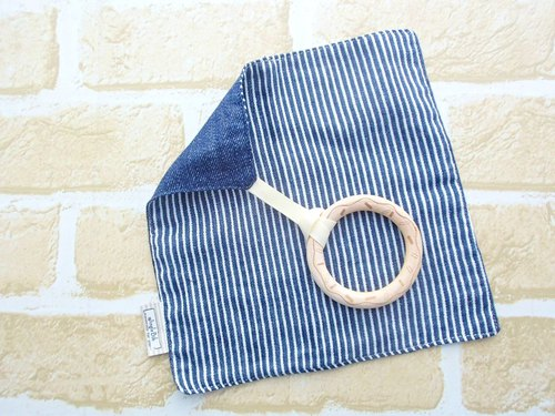Baby Teething Blanket, Rattle  Wooden Toy, Japanese Cotton, Navy Denim Stripes