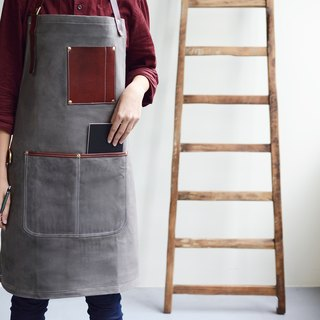 Canvas Leather Pocket Work Apron - Grey (Wax Water Repellent)