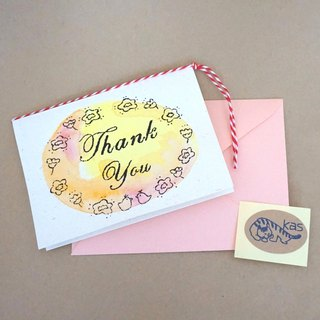 "Mimeograph print greeting card ""Thank You"" (texture)"