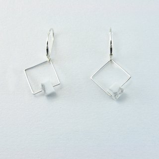 NATURAL Stone 925 Silver Earrings【 Minimalism - Square】
