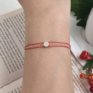 925 sterling silver gold plated seven small diamond chain rope red line bracelet red line gold chain three chain rope