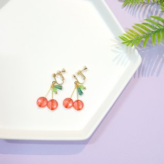 Sweet cherries ear needles / ear clips handmade earrings Korea direct