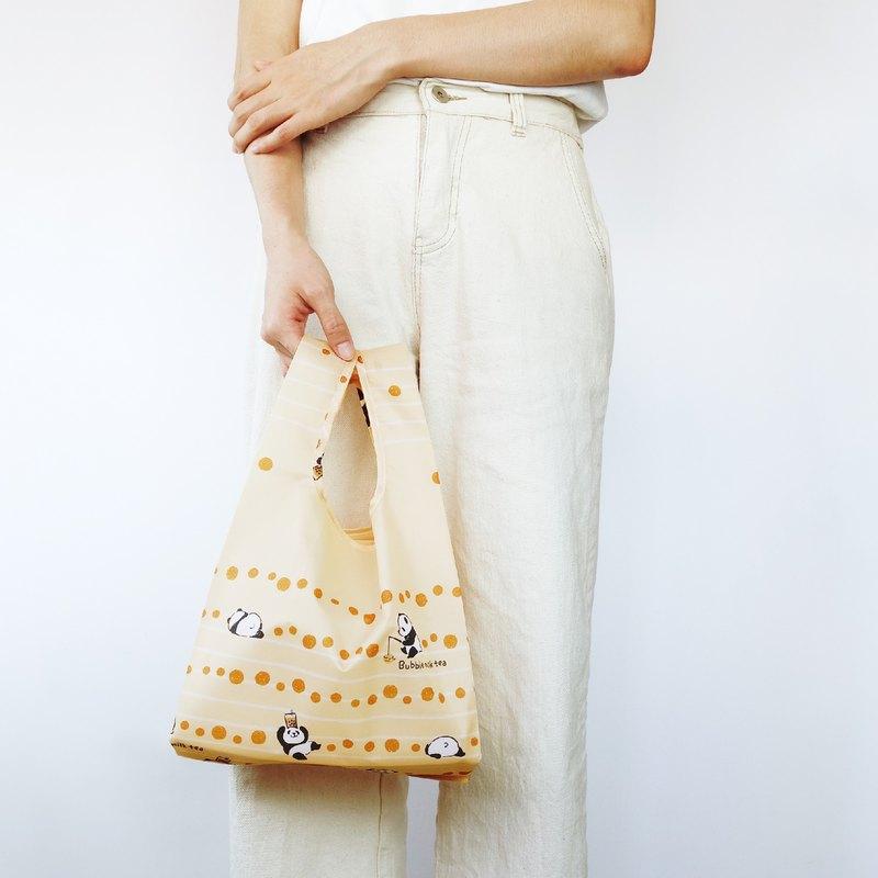 【袋走-環保購物袋】貓熊珍奶-可折疊收納