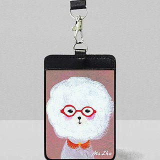 Leather identification card \ love Bichon dog \ cats and dogs sent a postcard (random)