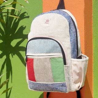 Tanabata gift limited to a cotton and linen stitching design after the backpack / shoulder bag / national mountaineering bag / puzzle package / cotton and linen backpack / travel bag - contrast geometric Monteverry color block color