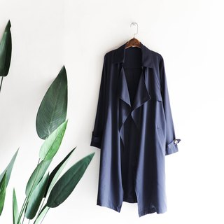 Aichi dark blue buckleless simple fashion antique thin windbreaker jacket trench_coat dustcoat