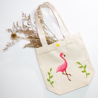 Wool felt embroidered flamingo canvas green bag pre-order in October