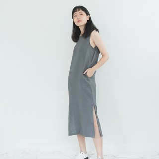Grey Big Bow Linen Dress