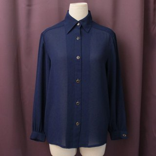 Vintage Japanese Elegant Simple Dark Blue Long Sleeve Vintage Shirt Vintage Blouse