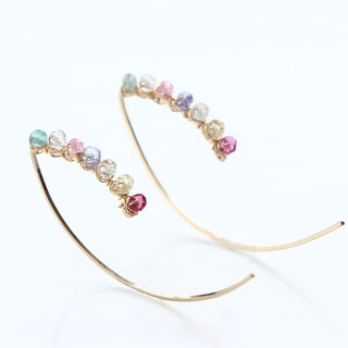 14kgf- multicolored garden marquise pierced earrings