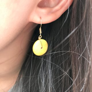 Why Not? Also! Coconut shell earrings YELLOW+BLUE can be mixed