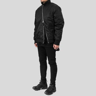 [IONISM] Asymmetrically Tailored Flight Jacket Black
