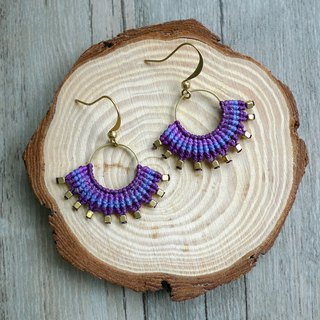 Misssheep-A46A-Bohemian ethnic colorful South American wax line braided brass earrings (with ear clips)