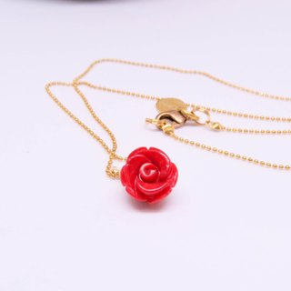 Rose carved necklace (reddish sea, red Dong Ling)