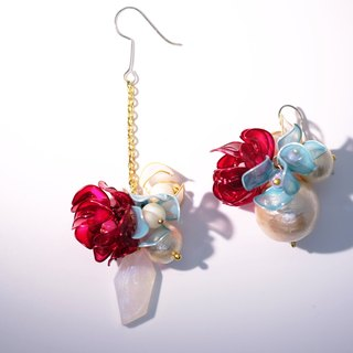 A pair of lining flowers pearl earrings