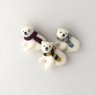 Polar bear child brooch