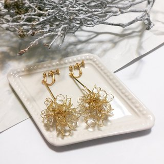 cLeAr flowers hand made transparent bouquet earrings - gold L size can be changed