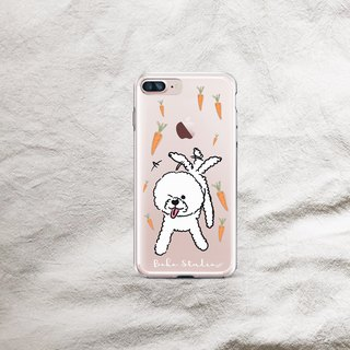 Bichon dog carrot transparent soft shell phone case
