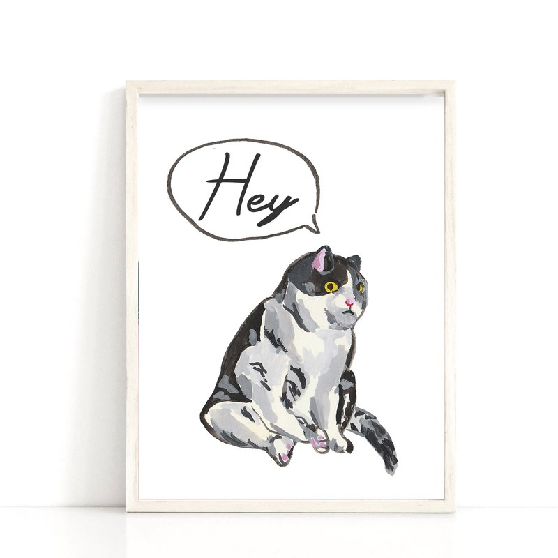 Cat Art Print Customize Wall Art Canvas