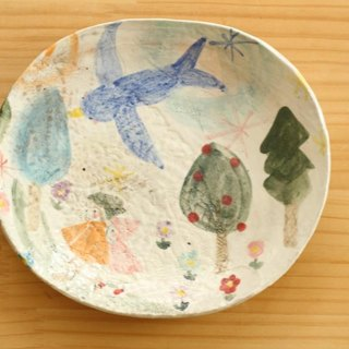 Powdering blue bird of happiness Oval dish.